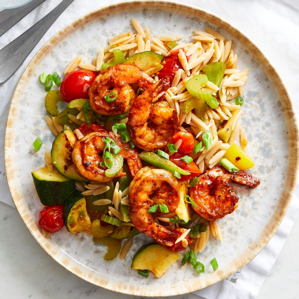 Peppery Barbecue-Glazed Shrimp with Vegetables & Orzo
