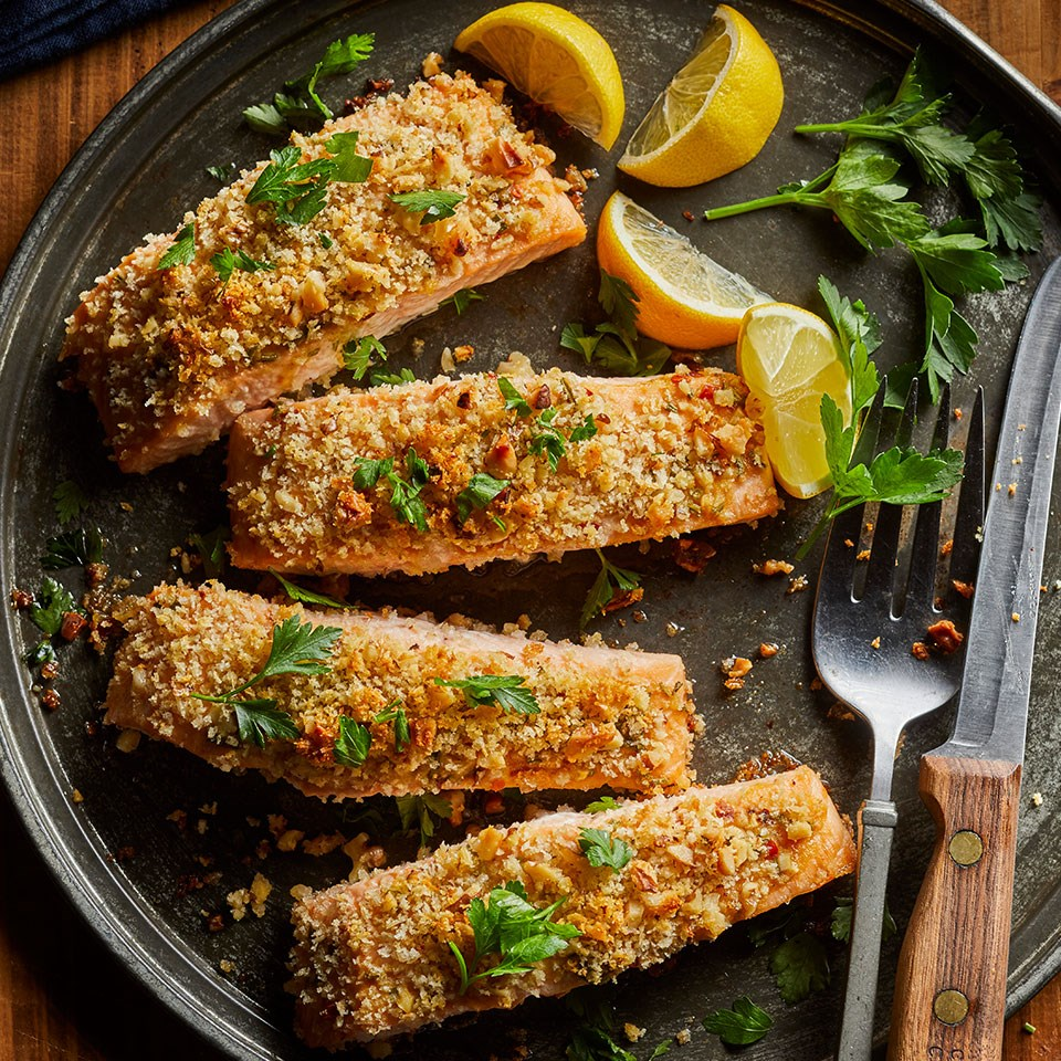 Walnut-Rosemary Crusted Salmon