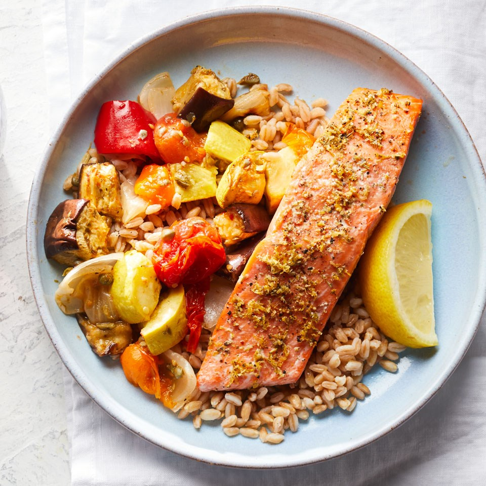 Lemon-Herb Salmon with Caponata & Farro
